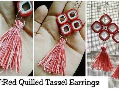 DIY TASSEL EARRINGS: How To Make  Red Quilling Tassel Earrings????????
