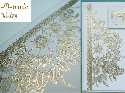 HANDMADE CARD with Mudra Stamps  HEAT EMBOSSING USING MASKING TECHNIQUE  HAN-D-MADE by Debadrita