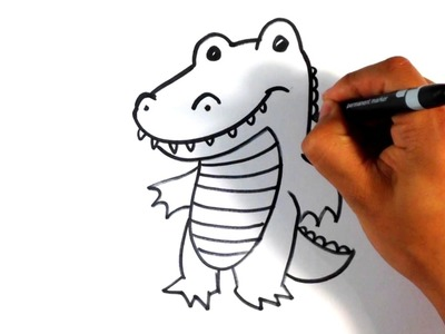 How to Draw a Crocodile  - Cute - Easy Pictures to Draw