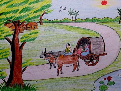 How to draw a village scenery with bullock cart | garur gari drawing