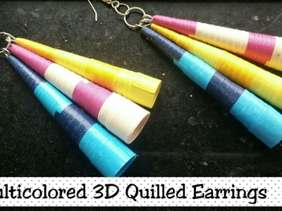 How to make 3d Quilling Multicolor Earrings.????| Paper Quilling Earrings