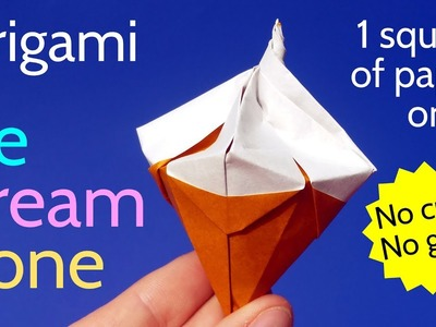 How to make an Origami Ice Cream Cone ???? Easy DIY Tutorial