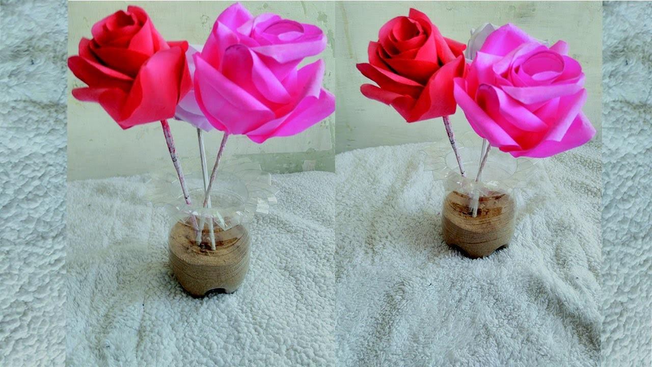How to make a beautiful flower vase flowers healthy how to make beautiful flower vase from waste plastic bottle plastic bottle crafts izmirmasajfo