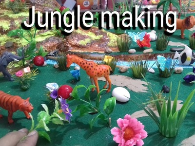 How to make jungle || zoo || school model project || waste using make hill
