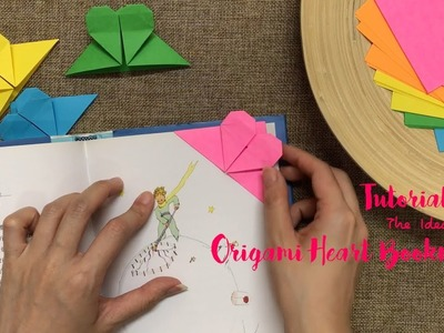 How to Make Origami Heart Bookmark Step by Step?   The Idea King Tutorial #9