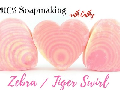Making & Cutting of Zebra.Tiger swirl Cold process soap Easy DIY beginners soapmaking Heart mold 069