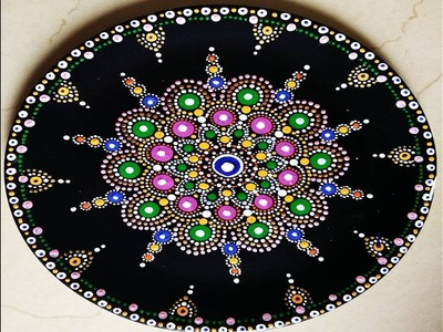 Painting mandala on plate ,make decorative plate for your wall, DIY room decor