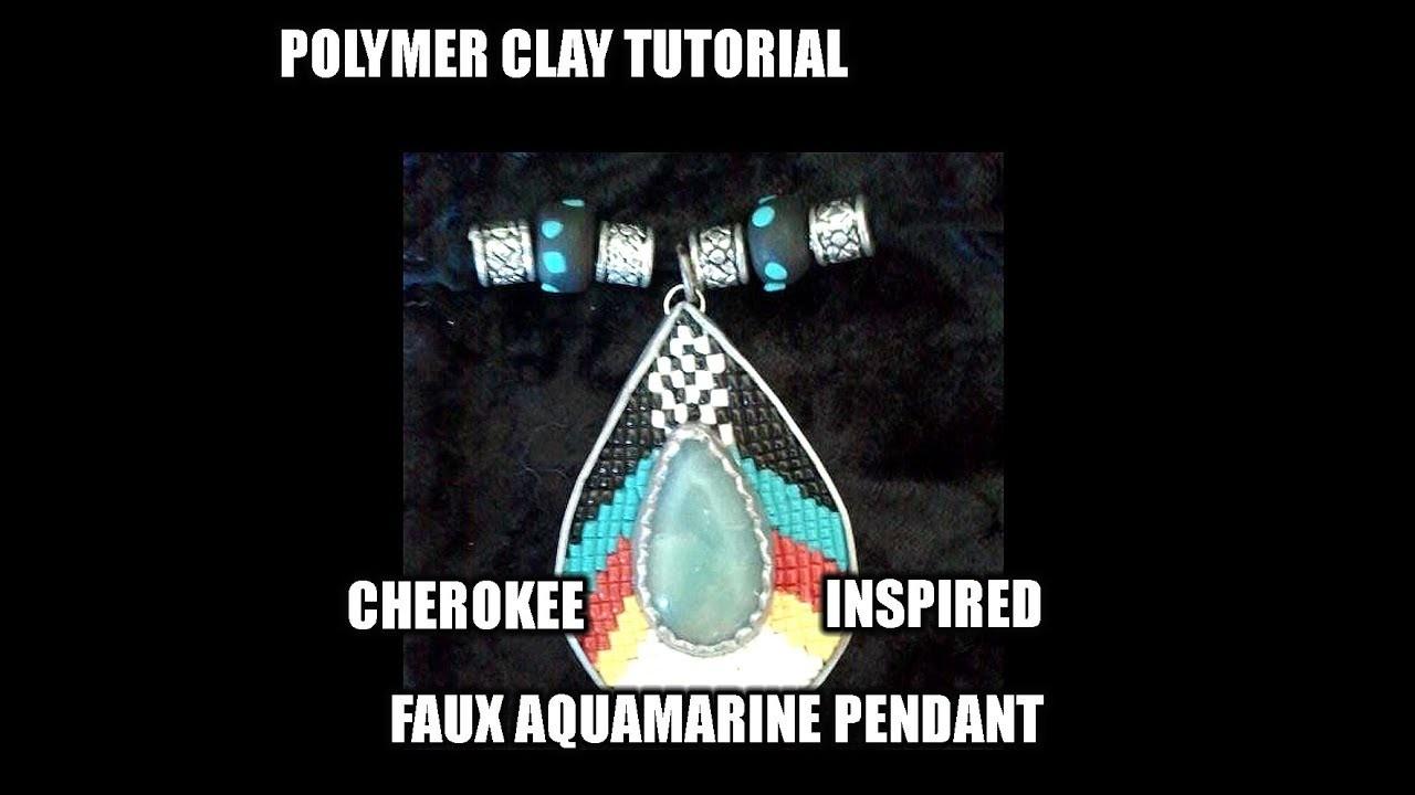 "Polymer clay Tutorial - Cherokee inspired Faux aquamarine ""seed bead"" pendant"