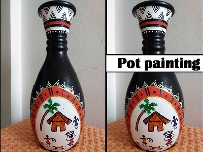 Pot painting with beautiful warli art ,simple and easy DIY:room decor