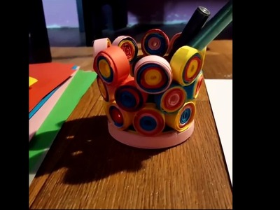 Quilling paper art.Colourful Pen Holder. DIY  - inspired by Craftfest and You