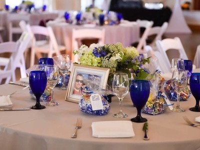 Travel Themed Blue and White Wedding at The Thursday Club, San Diego