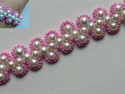Tutorial for beginners. DIY Beaded pink bracelet