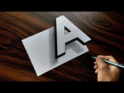 "Very Easy!! How To Draw 3D Floating Letter ""A"" - Trick Art on Paper"