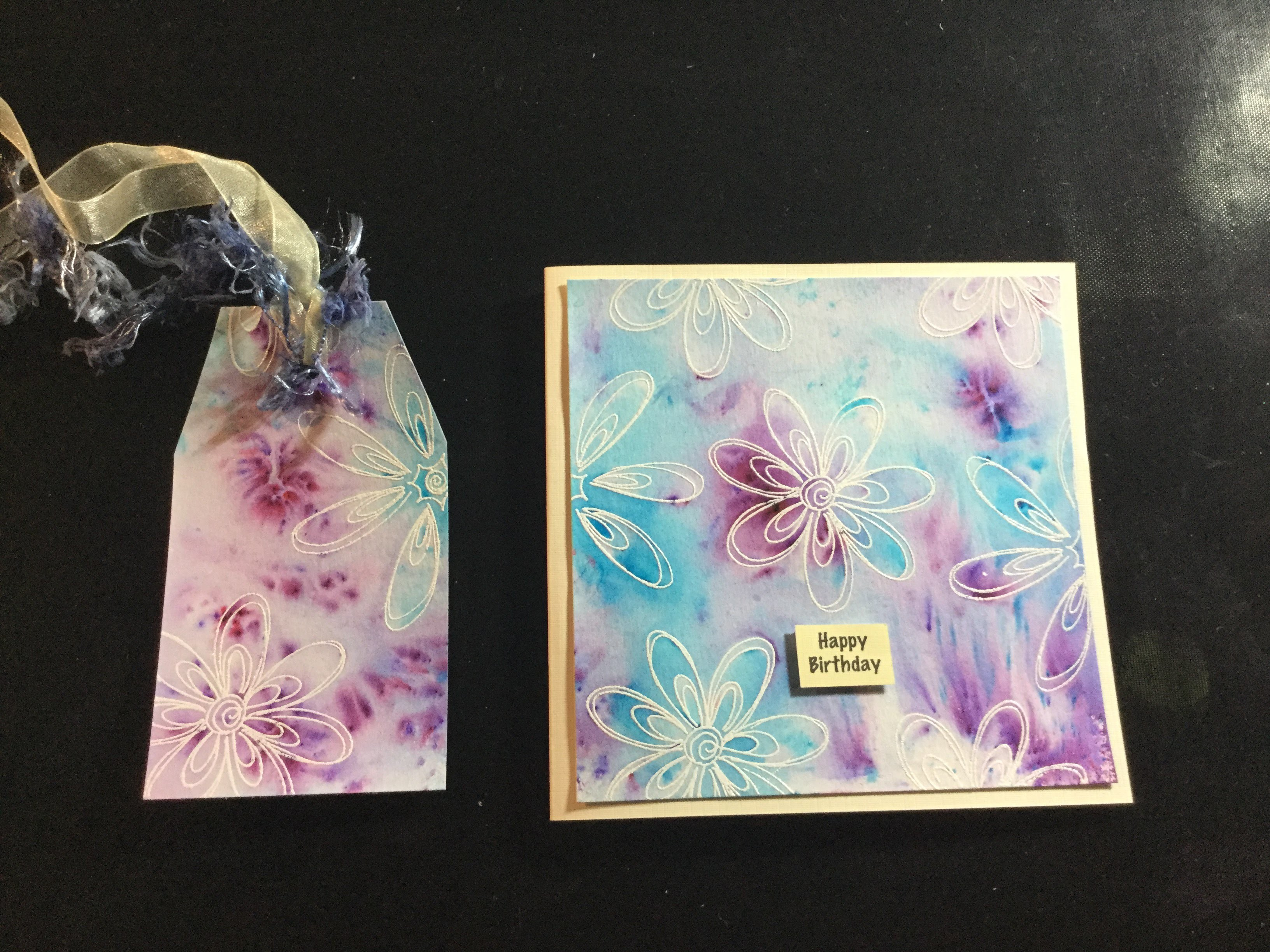 Watercolour Card and Tag - 4 ways (Brusho, Shimmer Paints, Brush Pens and Palette Watercolour)