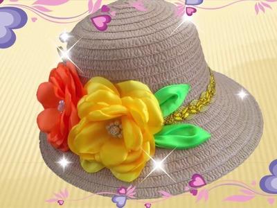 DIY, Decoracion de sombrero con flores en tela, How to decorate hat