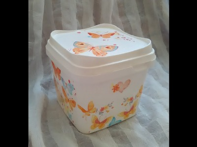 DIY Decoupage on plastic-step by step.How to recycle and create plastic ice cream box?