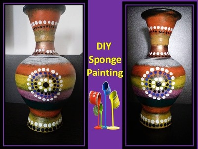 DIY handmade unique pot painting with sponge, Home decor.