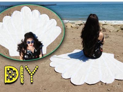 DIY Seashell Beach Blanket - NO SEW! || Lucykiins