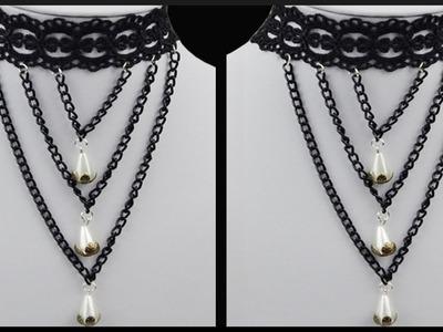 DIY | Spitzen Halskette mit Perlen | Vintage cosplay lace choker. Chain Necklace | Beadwork