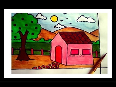 Easy house & scenery drawing step by step tutorial for kids