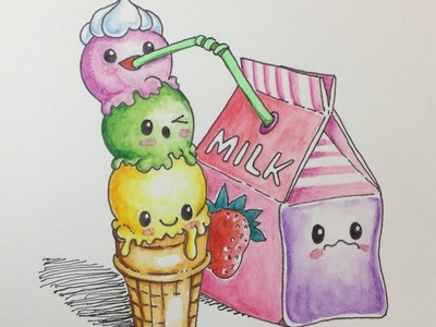 How To Draw Kawaii Milk And Ice Cream (Step by Step Easy)