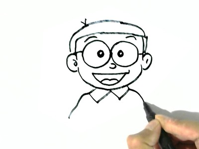 How to draw Nobita Nobi -Doraemon  in easy steps for children. beginners