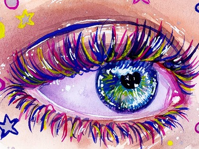 How to Use Ink Watercolor & Gouache Together. Mixed Media Rainbow Eye Painting Tutorial