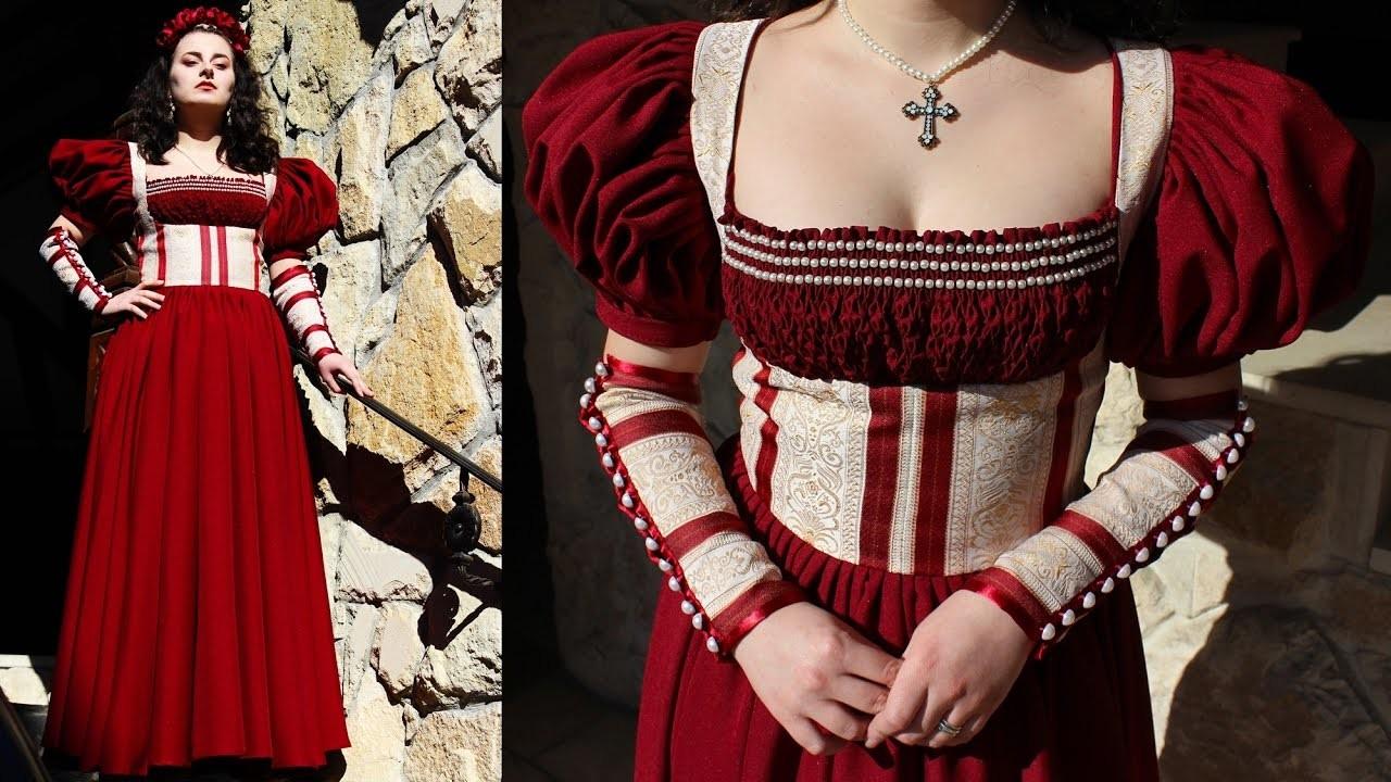 Smocking and beaded smocking - making The Renaissance Scarlet Dress