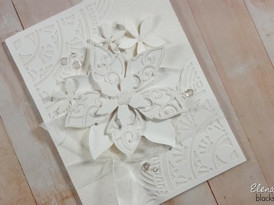 Super Sparkly White-on-White Floral Card with Elizabeth Craft Designs