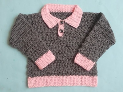 (Crochet-Crosia) How to  crochet  collar baby cardigan Tutorial