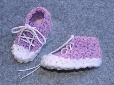 Crochet Slippers for Children -  Part 2 - Triangle Star Stitch - Puffed Star Stich