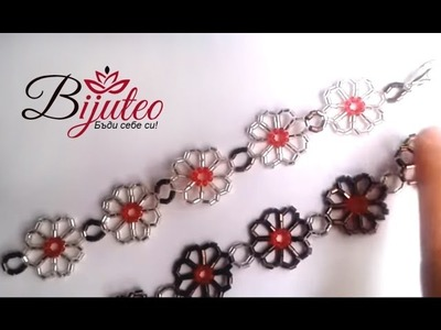 Daisy chain bracelet with bugle and round beads