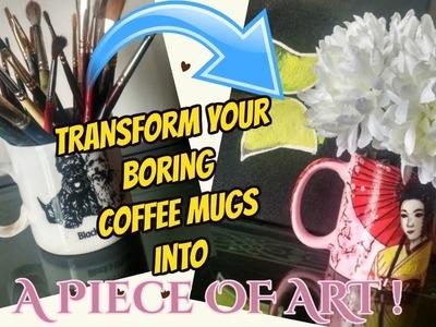 DIY: Decoupage tutorial on Ceramic Coffee Mugs. .Upcycle your Boring Mugs using Tissue Paper!!!