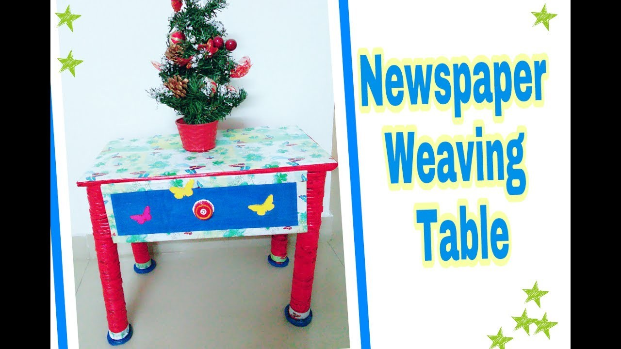 DIY ❤How to Make Newspaper Weaving Table. Newspaper Side Table with drawer. Newspaper craft