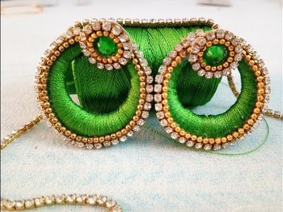 DIY;making simple silk thread earrings ! chandbali silk thread earrings
