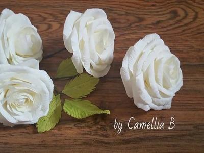 DIY - Paper Roses from crepe paper-  Rosas de papel de crepe- Hoa hồng giấy