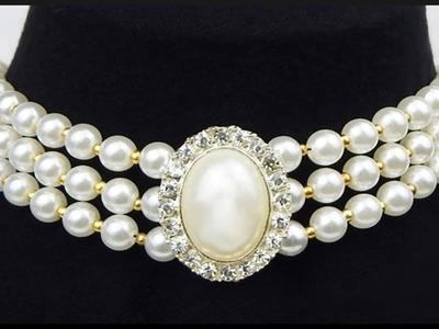DIY | Perlen Choker. Halskette | Schmuck | Beaded white and gold necklace | Pearl Beadwork