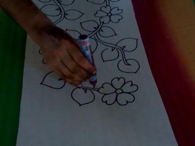 HAND ACID PAINTING ON SILK SAREES tutorial for  beginner