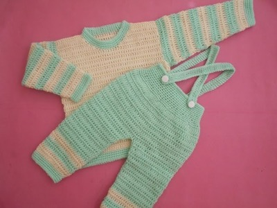 How to crochet an EASY baby romper. onesie pant with suspenders tutorial