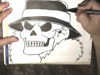 How to draw a gangsta Skull  -  cholo Skull