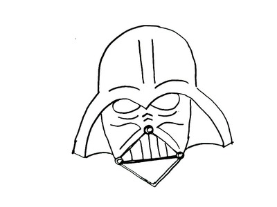 How to draw Darth vader mask,Star wars- in easy steps for children, kids, beginners