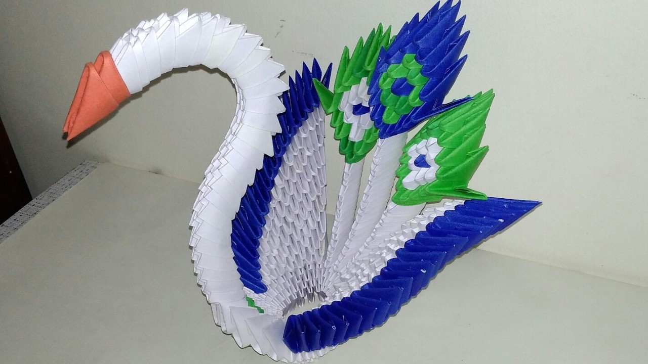 how to make a 3d origami peacock