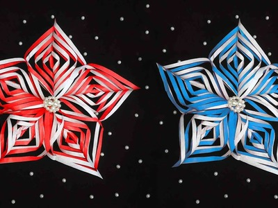 How to make a 3D paper snowflake step by step. How to make a paper snowflake.