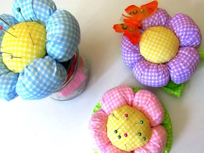 How to Make Simple Fabric Flower - 3 DIY Ideas - Pincushion Jar, Topiary, Tutorial, Crafts