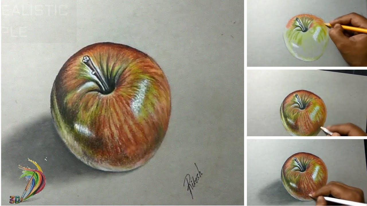 Hyper Realistic Drawing of Apple ( Time Lapse ) - 3D Art 4 You