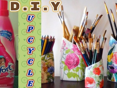 DIY: Upcycle.Decoupage.Mod Podge Detergent.Fabric Softener Plastic Bottes with Tissue Paper.Napkin