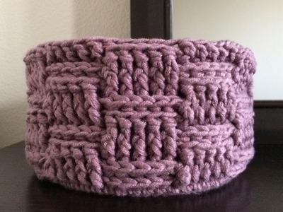 How To Crochet A Basketweave Storage Basket, Lilu's Handmade Corner Video # 150