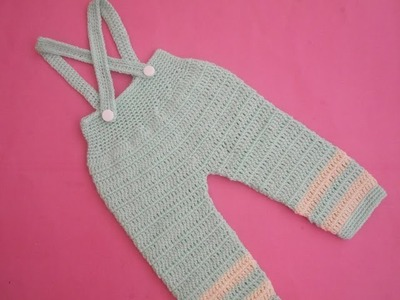 How to crochet an EASY baby romper. onesie pant with suspenders tutorial 2