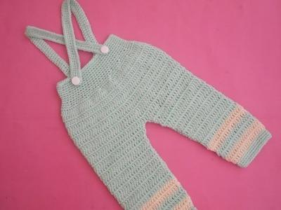 How to crochet an EASY baby romper. onesie pant with suspenders tutorial 2