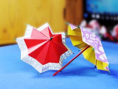 Origami umbrella at home using colored paper. paper umbrella Colored. paper umbrella